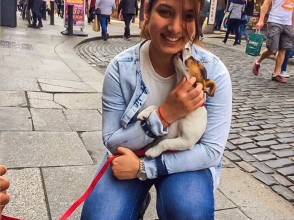Tarui Kotwal and her dog