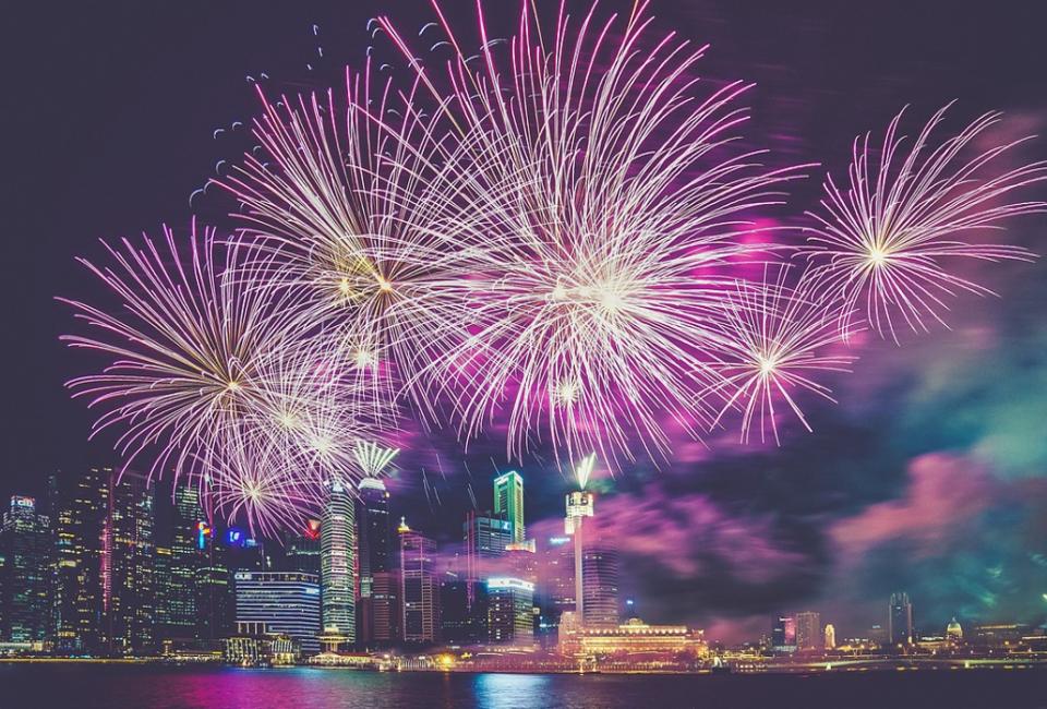 Purple city firework celebrations